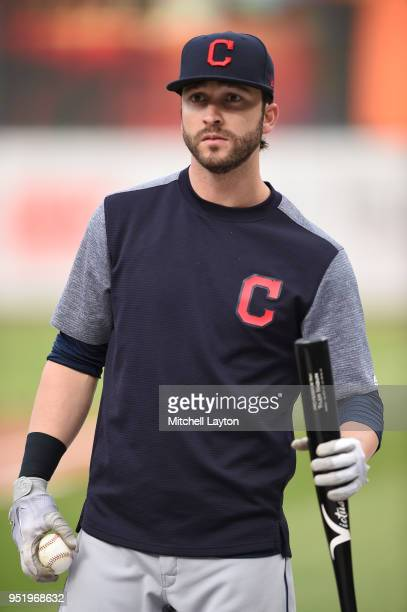 Tyler Naquin of the Cleveland Indians looks on during batting practice of a baseball game against the Baltimore Orioles at Oriole Park at Camden...