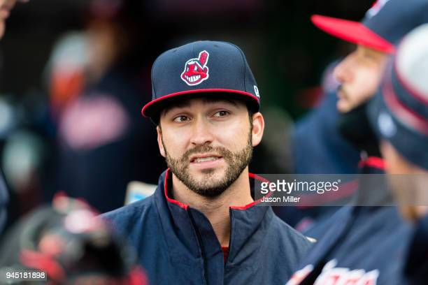 Tyler Naquin of the Cleveland Indians looks on in the dugout prior to the game against the Detroit Tigers at Progressive Field on April 9 2018 in...