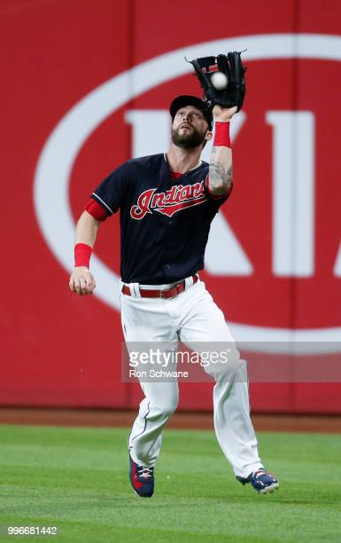 Tyler Naquin of the Cleveland Indians makes a catch to get out Jose Peraza of the Cincinnati Reds during the fifth inning at Progressive Field on...