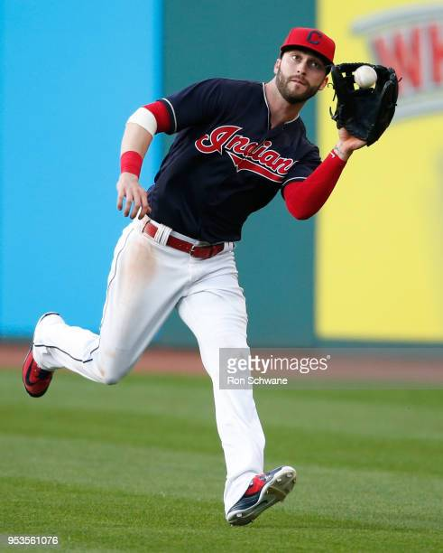 Tyler Naquin of the Cleveland Indians makes a running catch to get out Isiah KinerFalefa of the Texas Rangers during the sixth inning at Progressive...