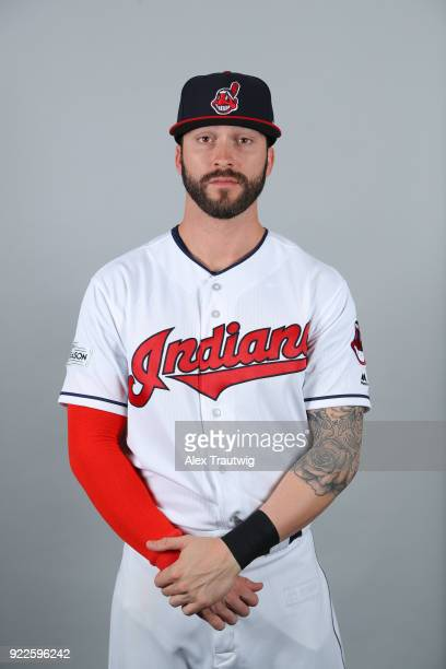 Tyler Naquin of the Cleveland Indians poses during Photo Day on Wednesday February 21 2018 at Goodyear Ballpark in Goodyear Arizona