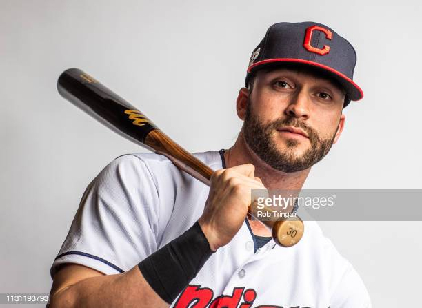 Tyler Naquin of the Cleveland Indians poses for a portrait at the Cleveland Indians Player Development Complex on February 21 2019 in Goodyear Arizona