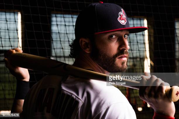 Tyler Naquin of the Cleveland Indians poses for a portrait at the Cleveland Indians Player Development Complex on February 21 2018 in Goodyear Arizona