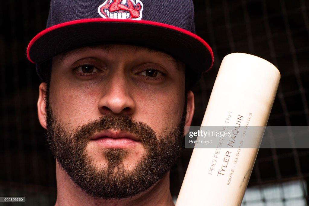 Tyler Naquin of the Cleveland Indians poses for a portrait at the Cleveland Indians Player Development Complex on February 21, 2018 in Goodyear, Arizona.