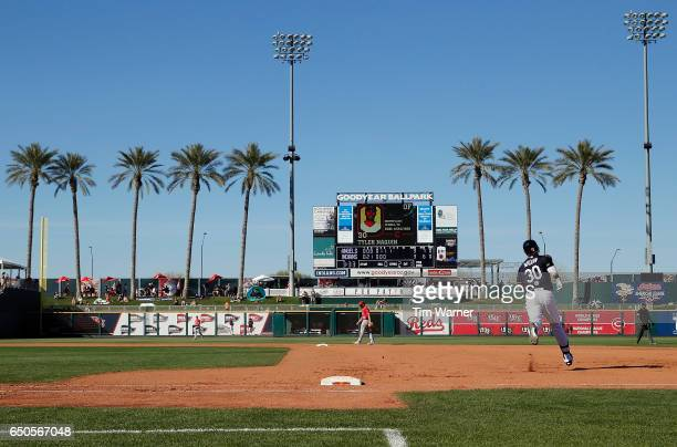 Tyler Naquin of the Cleveland Indians rounds first base after a home run in the seventh inning against the Los Angeles Angels of Anaheim during the...