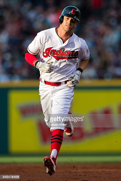 Tyler Naquin of the Cleveland Indians rounds the bases after hitting a solo home run during the third inning against the New York Yankees at...