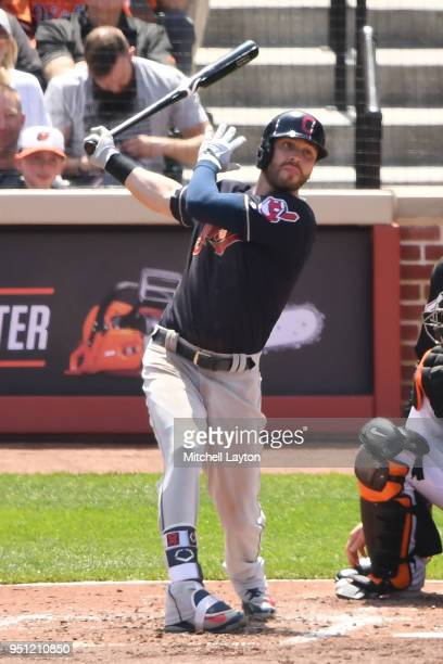 Tyler Naquin of the Cleveland Indians takes a swing during a baseball game against the Baltimore Orioles at Oriole Park at Camden Yards on April 22...