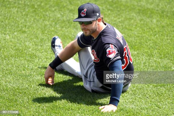 Tyler Naquin of the Cleveland Indians warms up before a baseball game against the Baltimore Orioles at Oriole Park at Camden Yards on April 22 2018...