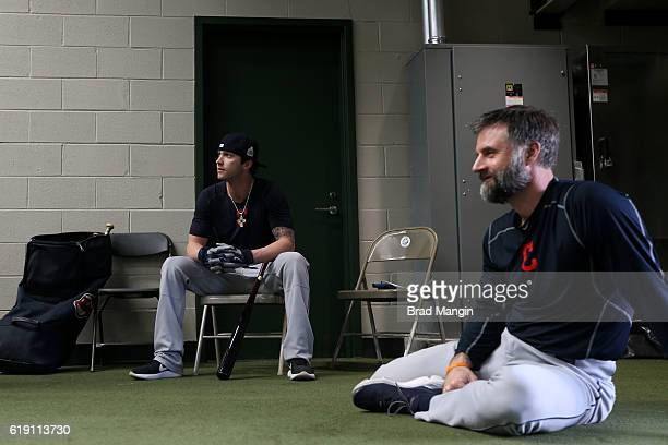 Tyler Naquin of the Cleveland Indians watches batting practice in the outfield batting cage prior to Game 4 of the 2016 World Series between the...