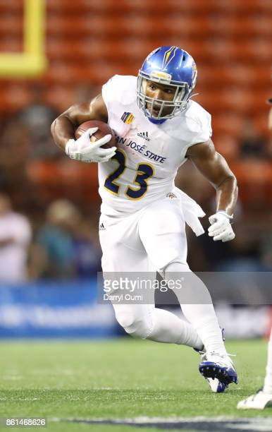Tyler Nevens of the San Jose State Spartans runs the ball during the first quarter of the game against the Hawaii Rainbow Warriors at Aloha Stadium...
