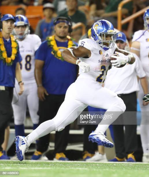 Tyler Nevens of the San Jose State Spartans runs the ball up the sideline during the first quarter of the game against the Hawaii Rainbow Warriors at...