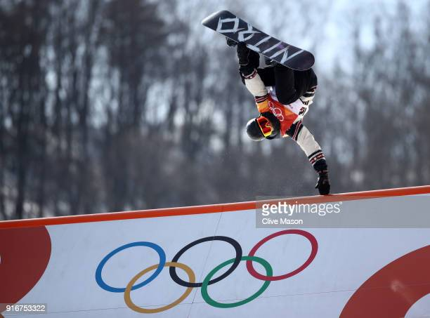 Tyler Nicholson of Canada competes during the Snowboard Men's Slopestyle Final on day two of the PyeongChang 2018 Winter Olympic Games at Phoenix...