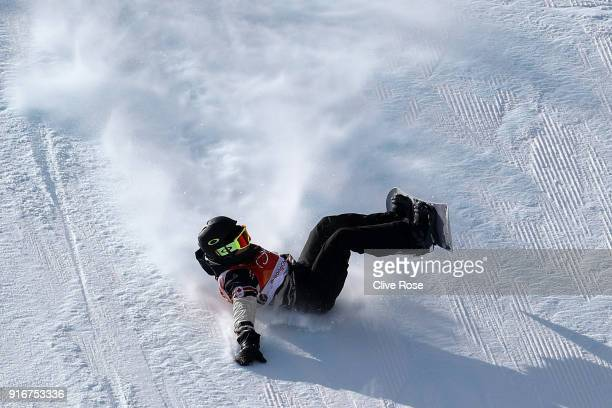 Tyler Nicholson of Canada crashes during the Snowboard Men's Slopestyle Final on day two of the PyeongChang 2018 Winter Olympic Games at Phoenix Snow...