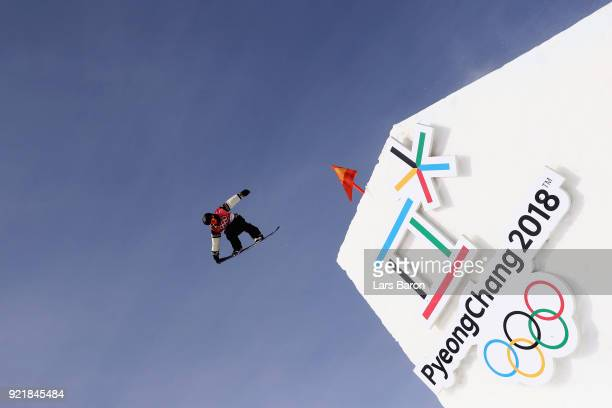 Tyler Nicholson of Canada practices prior to the Men's Big Air Qualification on day 12 of the PyeongChang 2018 Winter Olympic Games at Alpensia Ski...