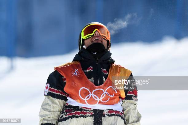 Tyler Nicholson of Canada reacts after crashing during the Snowboard Men's Slopestyle Final on day two of the PyeongChang 2018 Winter Olympic Games...