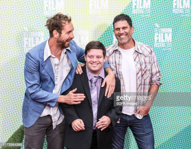 Tyler Nilson Zack Gottsagen and Michael Schwartz attend the premiere of The Peanut Butter Falcon as part of the BFI London Film Festival at Odeon...
