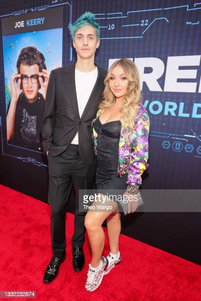 """Tyler """"Ninja"""" Blevins and Jessica Blevins attend the World Premiere of 20th Century Studios' Free Guy on August 03, 2021 in New York City."""