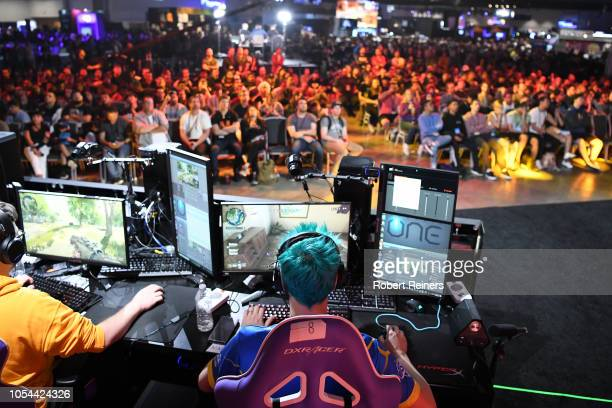 Tyler Ninja Blevins plays Call of Duty Black Ops 4 during the Doritos Bowl 2018 at TwitchCon 2018 in the San Jose Convention Center on October 27...