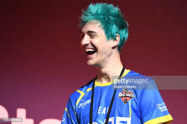 Tyler Ninja Blevins reacts onstage prior to the Doritos Bowl 2018 at TwitchCon 2018 in the San Jose Convention Center on October 27 2018 in San Jose...