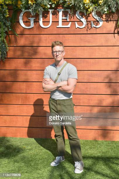 Tyler Oakley attends GUESS Festival Prep Event at Lombardi House on April 3, 2019 in Los Angeles, California.