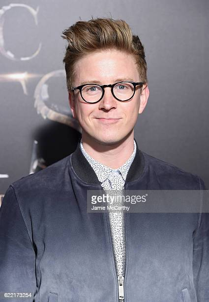 Tyler Oakley attends the 'Fantastic Beasts And Where To Find Them' World Premiere at Alice Tully Hall Lincoln Center on November 10 2016 in New York...