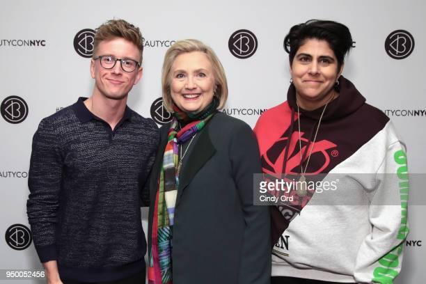 Tyler Oakley Hillary Clinton and Beautycon Founder Moj Mahdara attend Beautycon Festival NYC 2018 Day 2 at Jacob Javits Center on April 22 2018 in...