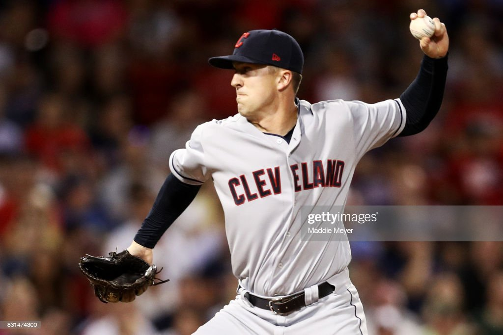 Tyler Olson #49 of the Cleveland Indians pitches against the Boston Red Sox during the eighth inning at Fenway Park on August 14, 2017 in Boston, Massachusetts.