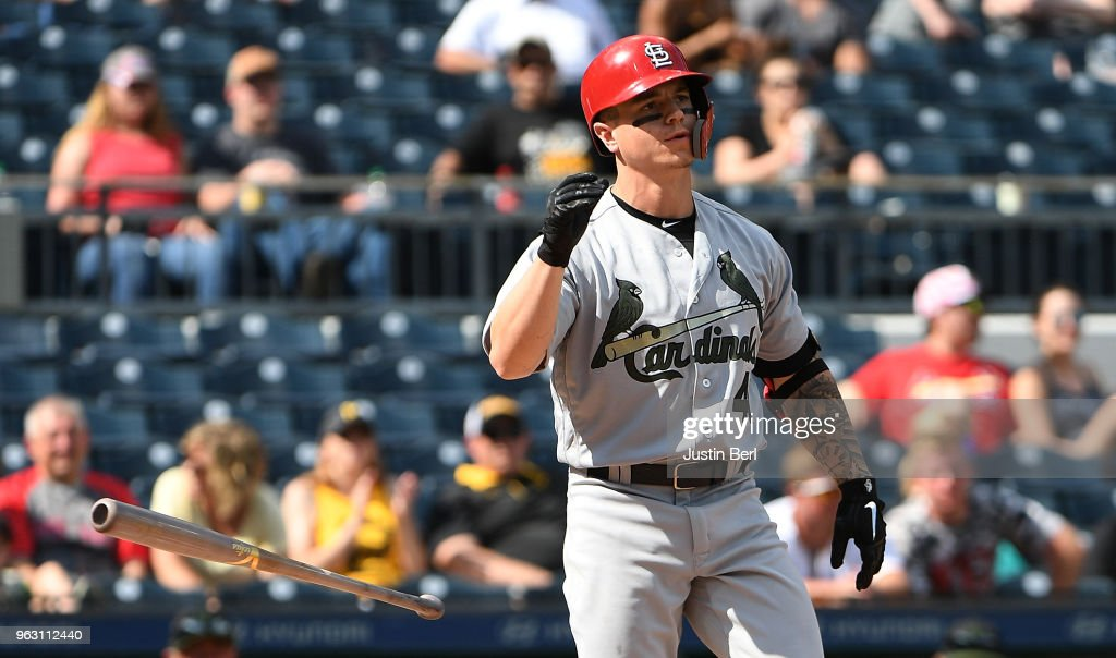Tyler O'Neill #41 of the St. Louis Cardinals flips his bat after striking out in the ninth inning during the game against the Pittsburgh Pirates at PNC Park on May 27, 2018 in Pittsburgh, Pennsylvania.