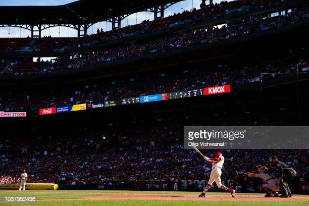 Tyler O'Neill of the St Louis Cardinals hits a walkoff home run against the San Francisco Giants in the tenth inning at Busch Stadium on September 22...