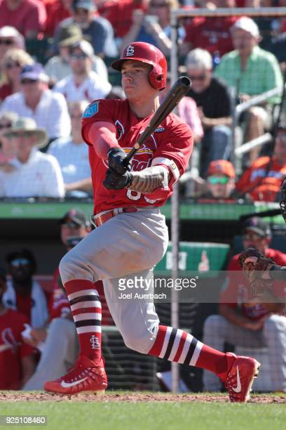 Tyler Ou2019Neill of the St Louis Cardinals hits the ball against the Miami Marlins during a spring training game at Roger Dean Chevrolet Stadium on...