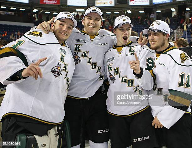 Tyler Parsons Matthew Tkachuk Mitchell Marner and Owen MacDonald of the London Knights celebrate defeating the Niagara IceDogs in Game Four of the...