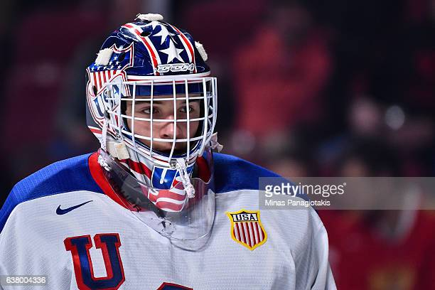 Tyler Parsons of Team United States looks on as he skates during the 2017 IIHF World Junior Championship semifinal game against Team Russia at the...