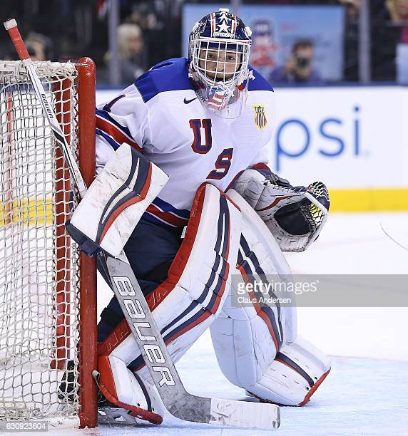 Tyler Parsons of Team USA gets set to face a shot against Team Switzerland during a QuarterFinal game at the 2017 IIHF World Junior Hockey...
