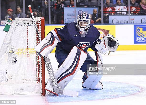 Tyler Parsons of Team USA watches the corner against Team Latvia during a 2017 IIHF World Junior Hockey Championship game at the Air Canada Centre on...