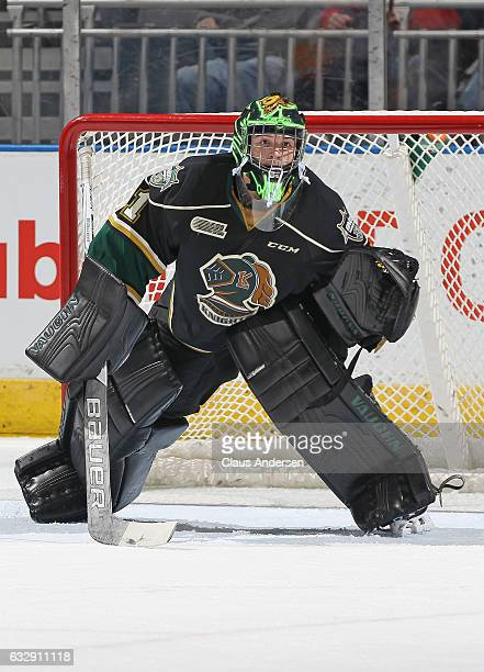 Tyler Parsons of the London Knights gets set to face a shot against the Erie Otters during an OHL game at Budweiser Gardens on January 27 2017 in...