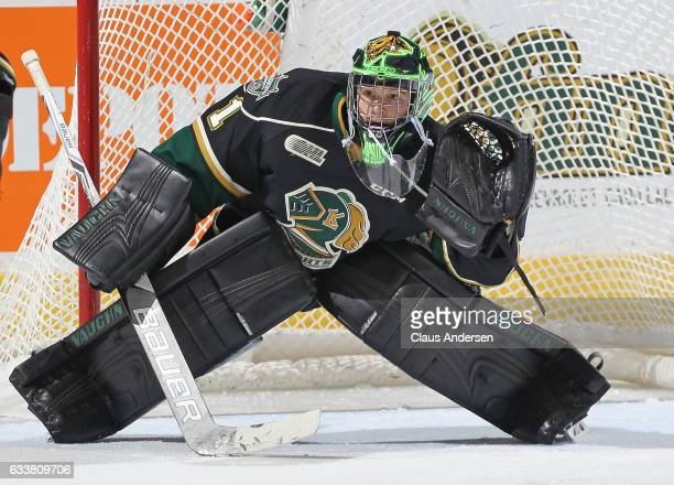 Tyler Parsons of the London Knights gets set to face a shot against the Owen Sound Attack during an OHL game at Budweiser Gardens on February 3 2017...