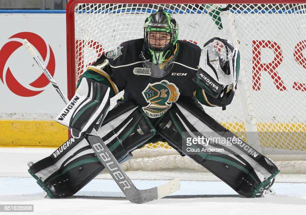 Tyler Parsons of the London Knights gets set to face a shot against the Guelph Storm during an OHL game at Budweiser Gardens on March 9 2017 in...