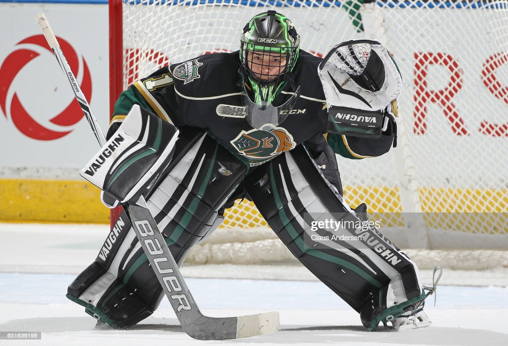 Tyler Parsons #1 of the London Knights gets set to face a shot against the Guelph Storm during an OHL game at Budweiser Gardens on March 9, 2017 in London, Ontario, Canada. The Knights defeated the Storm 8-2.