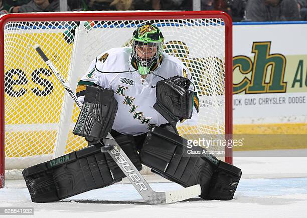 Tyler Parsons of the London Knights gets set to stop a shot against the Mississauga Steelheads during an OHL game at Budweiser Gardens on December 9...