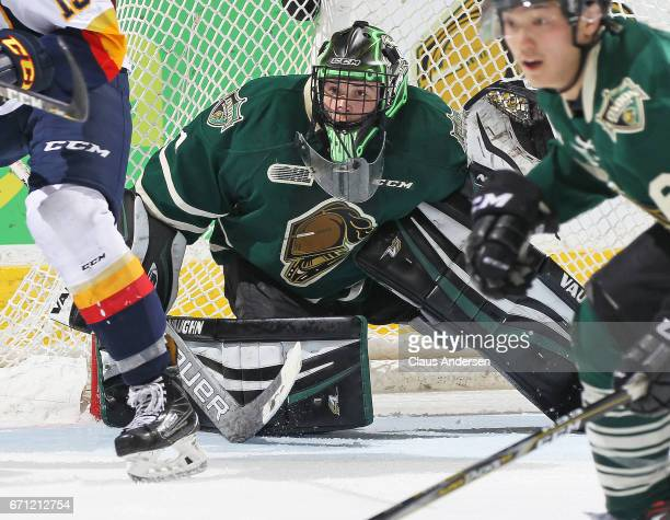 Tyler Parsons of the London Knights keeps a lookout for a shot during play against the Erie Otters in Game Six of the OHL Western Conference...