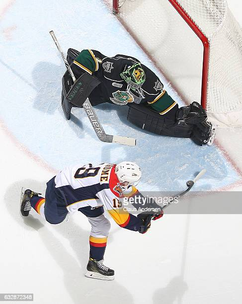 Tyler Parsons of the London Knights makes a stop on Dylan Strome of the Erie Otters during an OHL game at Budweiser Gardens on January 27 2017 in...