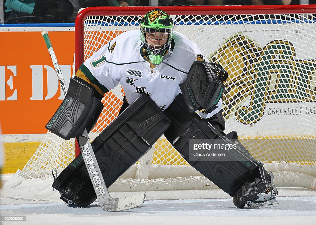 Tyler Parsons #1 of the London Knights sporting a new paint scheme on his mask gets set to face a shot against the Barrie Colts during an OHL game at Budweiser Gardens on November 25, 2016 in London, Ontario, Canada. The Knights defeated the Colts 4-1.