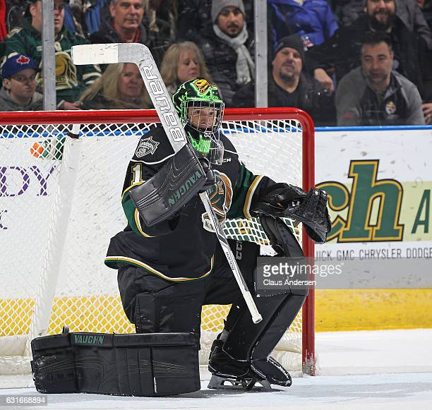 Tyler Parsons of the London Knights takes a breather against the Saginaw Spirit during an OHL game at Budweiser Gardens on January 13 2017 in London...