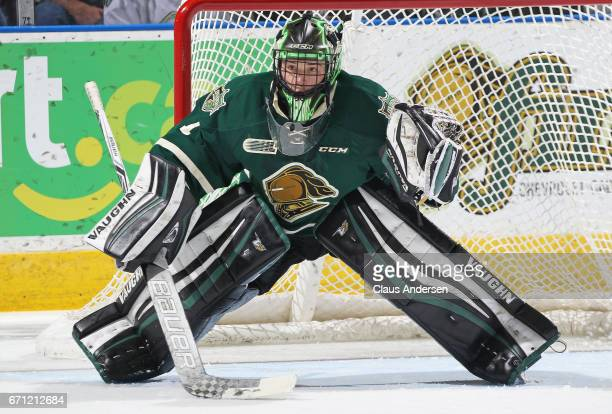 Tyler Parsons of the London Knights watches for a shot during play against the Erie Otters in Game Six of the OHL Western Conference SemiFinal on...