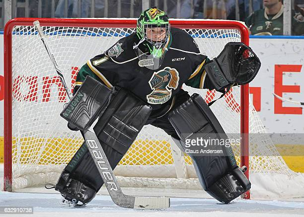Tyler Parsons of the London Knights watches the action against the Erie Otters during an OHL game at Budweiser Gardens on January 27 2017 in London...