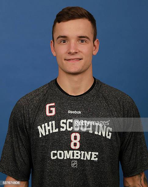 Tyler Parsons poses for a headshot at the 2016 NHL Combine on June 2 2016 at Harborcenter in Buffalo New York