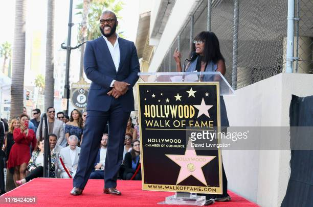 Tyler Perry and Crystal Fox attend as Tyler Perry is honored with a Star on the Hollywood Walk of Fame on October 01 2019 in Hollywood California