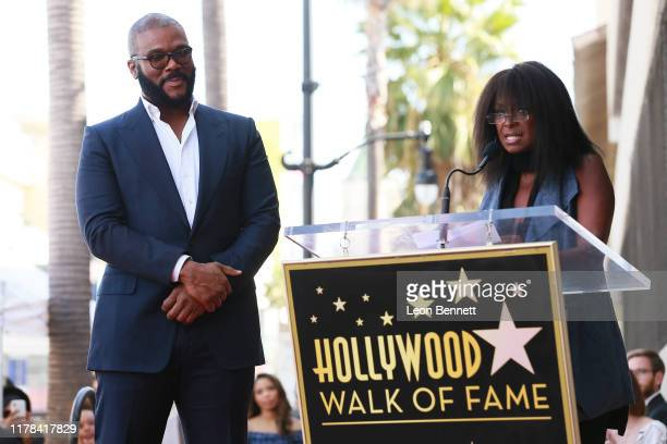Tyler Perry and Crystal Fox attend the ceremony honoring Tyler Perry With Star On Hollywood Walk Of Fame on October 01 2019 in Hollywood California