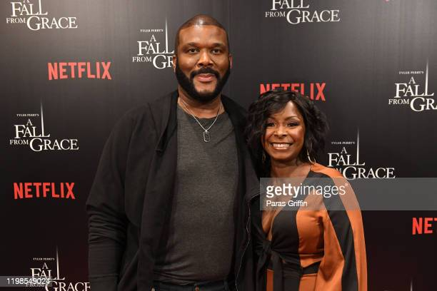 Tyler Perry and Crystal Fox attend Tyler Perry's A Fall From Grace VIP Screening at SCAD Show on January 09 2020 in Atlanta Georgia