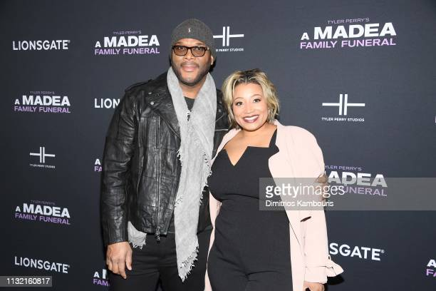 Tyler Perry and guest attend a screening for Tyler Perry's A Madea Family Funeral at SVA Theater on February 25 2019 in New York City